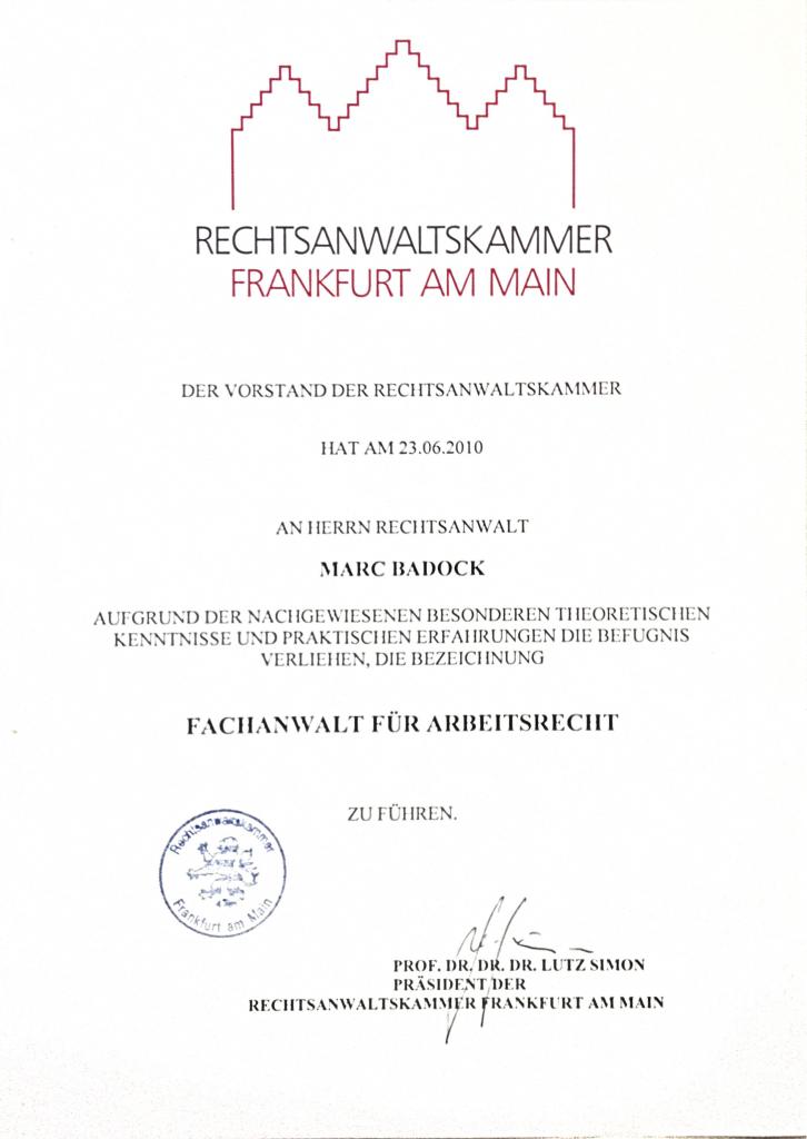 20100623 Urkunde Fachanwalt fur Arbeitsrecht